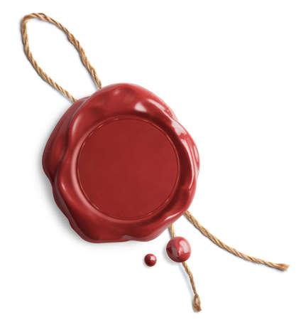 sellos: Sello de cera roja con la cuerda aislada en blanco Foto de archivo