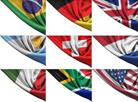 flag of argentina: Conjunto de diversas banderas del estado, incluyendo EE.UU., Reino Unido, Alemania, Italia, RSA, etc. Foto de archivo