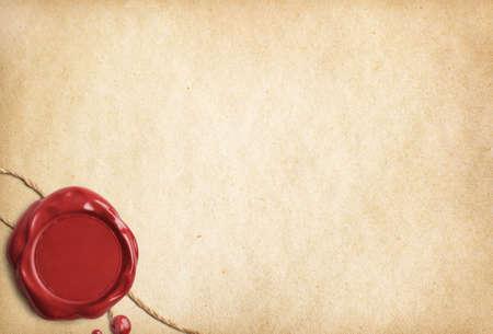 Lettre parchemin vieux avec cachet de cire rouge Banque d'images