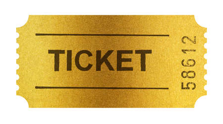 admit one: Golden ticket isolated on white