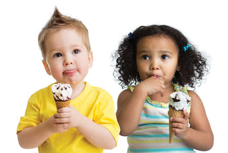 kids eating ice cream isolated on white photo