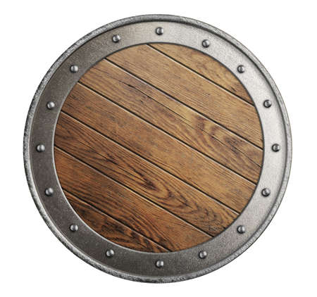 medieval old wooden vikings shield isolated on white photo