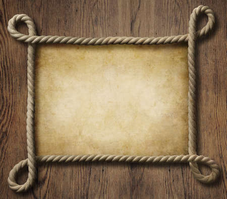 Pirate theme nautical rope frame with old paper photo