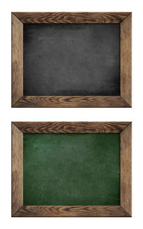old green and black school blackboard or chalkboard with wood frame isolated on white photo