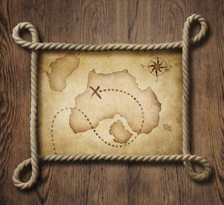 Pirate theme nautical rope frame with old map photo