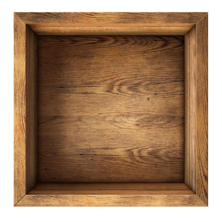 vintage timber: old wood box top view isolated on white