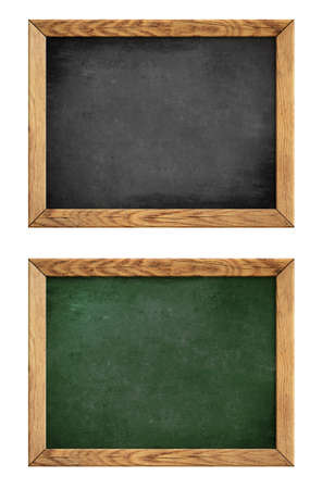 green and black school blackboard or chalkboard with wood frame isolated on white photo