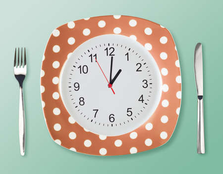 Dinner plate retro style with clock face fork an knife