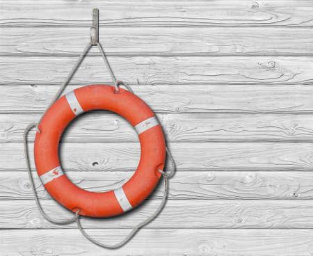 life buoy: Lifebuoy on wood white background