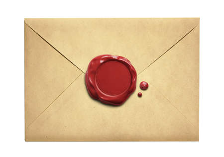 Old letter envelope with wax seal isolated on white Archivio Fotografico
