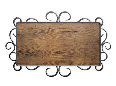 Old wood plate or sign in metal frame isolated on white Stock Photo