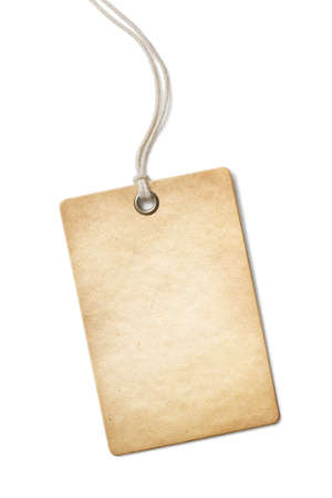 Blank old paper price tag or label isolated photo