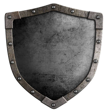 old knights metal shield isolated on white photo