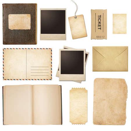 Oude post, papier, boek, polaroid frames, stempel geïsoleerde collectie Stockfoto