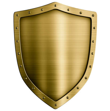metal shield: Gold or bronze metal medieval shield isolated