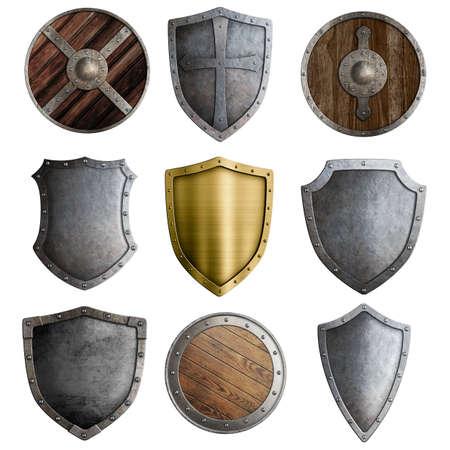 medievales: Escudos o insignias medievales conjunto aislado en blanco Foto de archivo