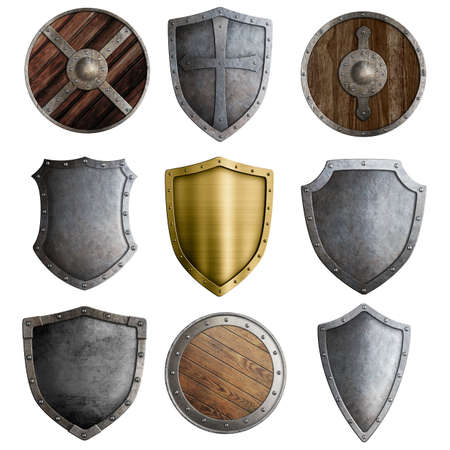 medieval shield: Medieval shields or badges set isolated on white