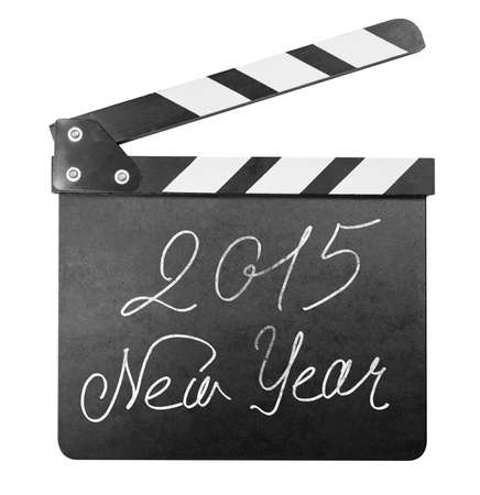 hollywood christmas: Clapper board with 2015 new year text isolated on white