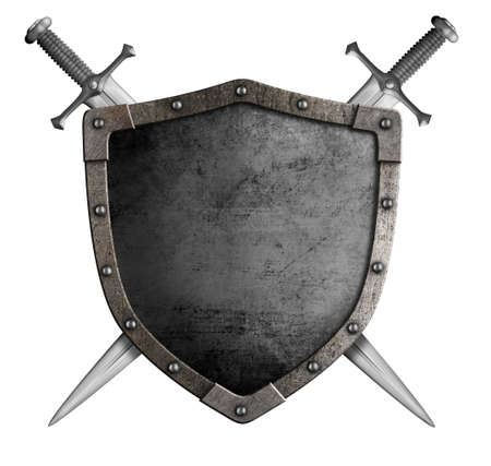 coat of arms medieval knight shield and sword isolated on white Stock Photo