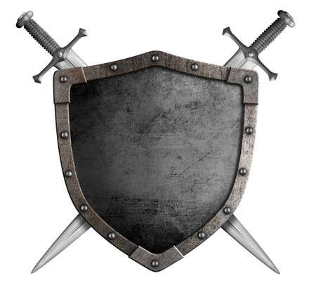 zbraně: erb středověkého rytíře štítem a mečem na bílém