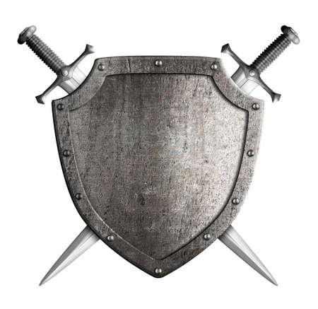 escudo de armas medieval escudo y espada del caballero aislado en blanco