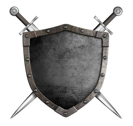 coat of arms medieval knight shield and sword isolated on white Stockfoto