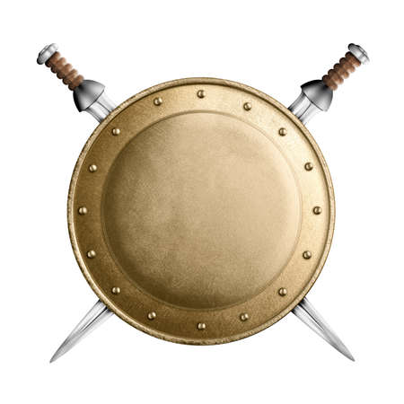 medieval sword: medieval old round metal shield with two swords isolated on white