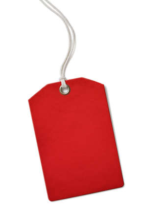 Red blank paper price or sale tag isolated on white Foto de archivo