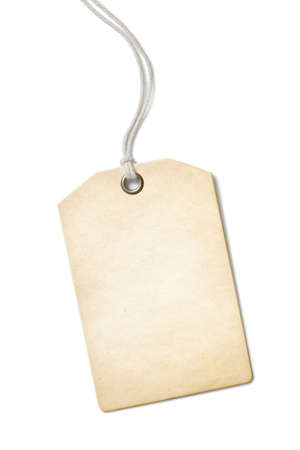 Blank old paper price tag or label isolated