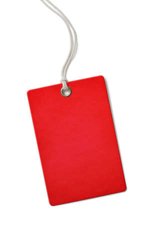 tag: Red blank paper price or sale tag isolated on white Stock Photo