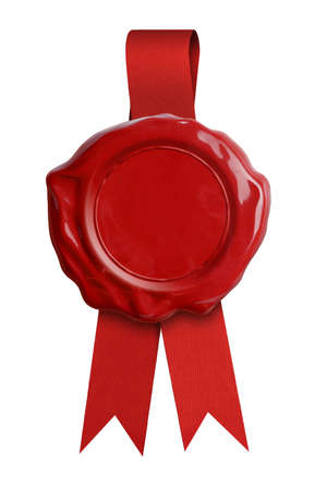 warranty: Wax seal with red ribbon isolated on white
