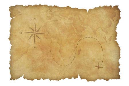 navios: Pergaminho mapa do tesouro dos piratas isolado no branco com trajeto de grampeamento inclu