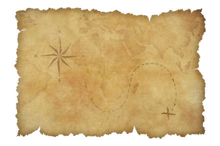 rusty background: Pirates parchment treasure map isolated on white with clipping path included