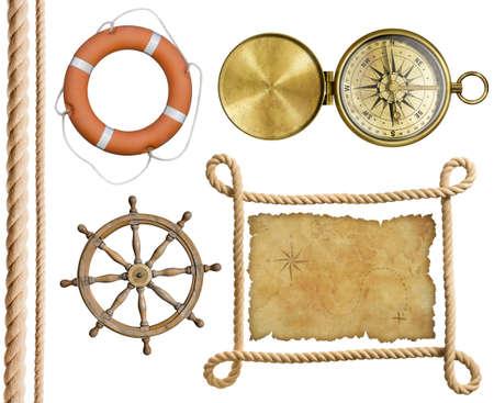 nautical objects rope, treasure map, lifebuoy, compass, wheel isolated photo