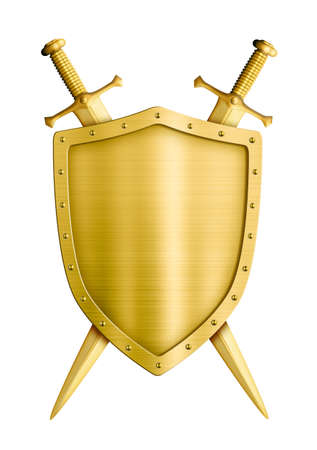 sword and shield: gold coat of arms medieval knight shield and swords isolated on white