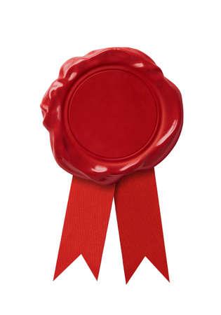 Red lak zegel stempel met lint geïsoleerd op wit Stockfoto