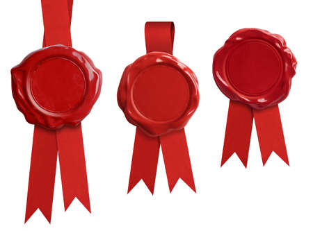 Red wax seal stamps with ribbon isolated on white Stockfoto