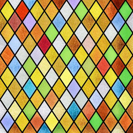 kleurrijke abstracte glas in lood raam patroon achtergrond Stockfoto