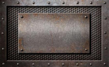 콤 그리드 또는 그릴 배경 위에 오래 된 녹슨 금속 플레이트