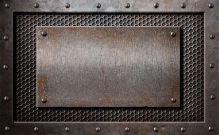 rusty: old rusty metal plate over comb grid or grille background