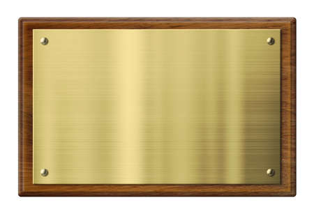 brushed gold: wood plaque with brass or gold metal plate isolated with clipping path included Stock Photo