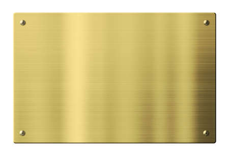Brass or gold metal plate isolated with clipping path