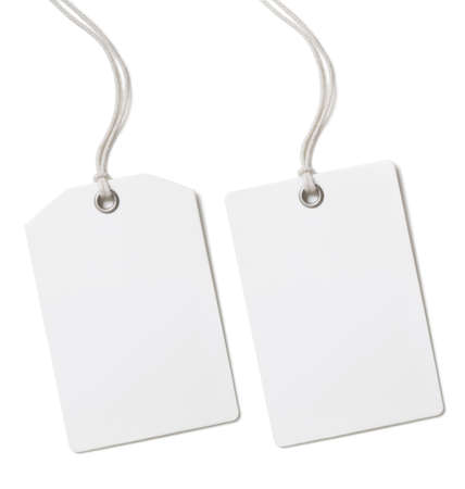 Precio en blanco de papel o etiqueta conjunto aislado en blanco Foto de archivo