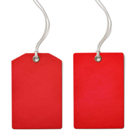 Red blank paper price or sale tag set isolated on white photo
