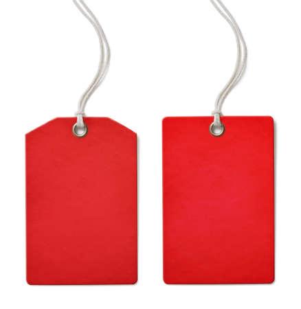 Rode blanco papier prijs of verkoop tag set geïsoleerd op wit Stockfoto