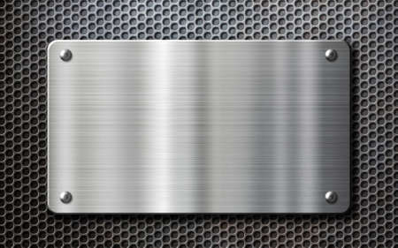 stainless steel metal plate over perforated background