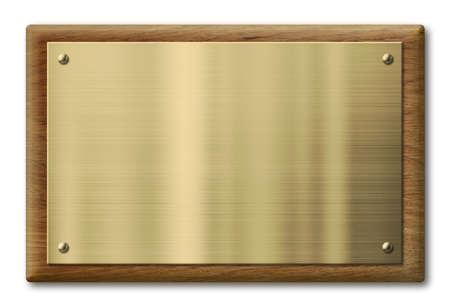 真鍮またはクリッピング パスを含めると分離されたゴールドの金属板と木製プラーク