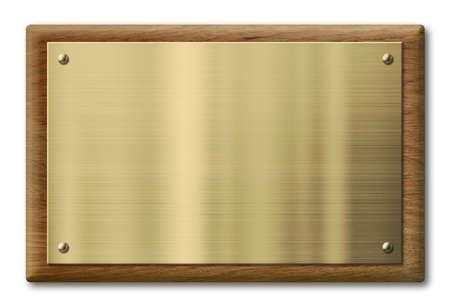 wood plaque with brass or gold metal plate isolated with clipping path included Banque d'images
