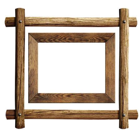 marco madera: Marcos de madera conjunto aislado en blanco