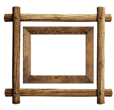 timber frame: Wood frames set isolated on white Stock Photo